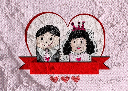Cartoon hand drawn wedding couple wedding idea design