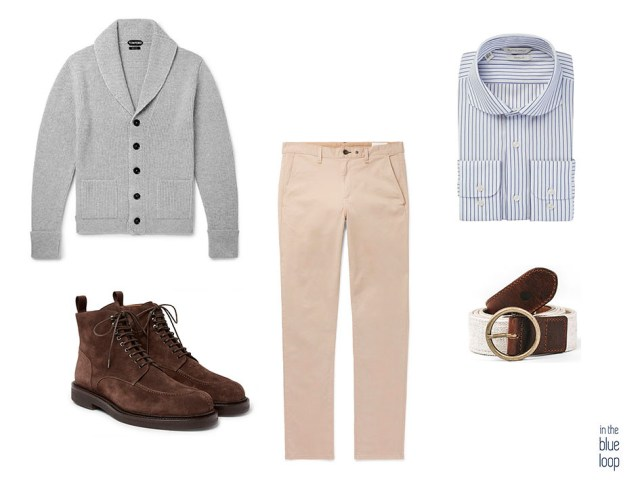 look casual masculino con chinos, cinturón fataga de blue hole, camisa de rayas, botas y cardigan