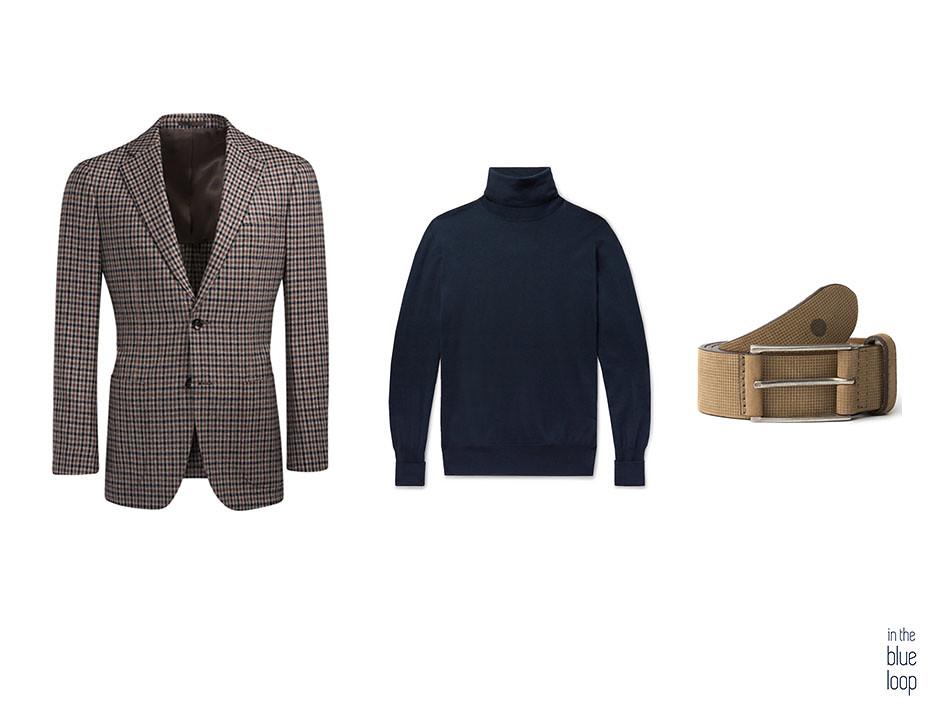 Look smart-casual con blazer de tweed, jersey de cuello vuelto y cinturón Anaga beige de blue hole