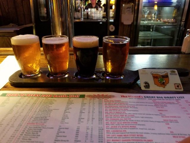 From left to right - Founders All Day IPA, Dogfish Head 75 Minute IPA, Yuengling Porter, Great Lakes Christmas Ale