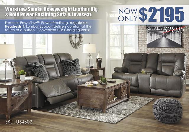 Wurstrow Smoke Reclining Sofa & Loveseat_U54602