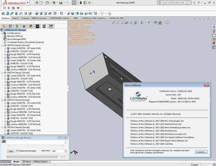 Programming with CAMWorks 2018 SP5.0 for Solidworks 2017-2019