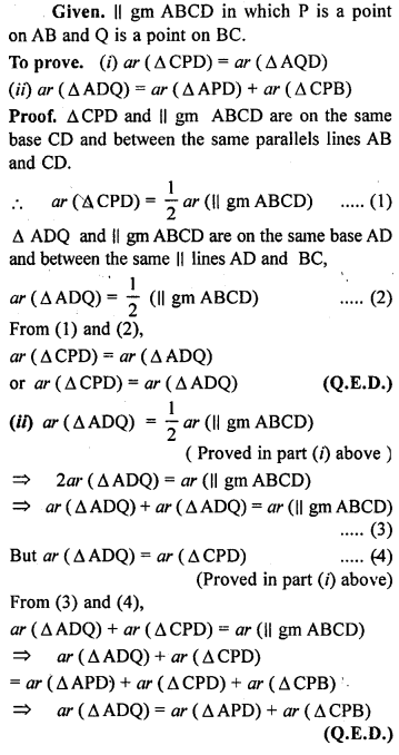 ML Aggarwal Class 9 Solutions for ICSE Maths Chapter 14 Theorems on Area    ct 2a