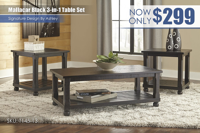 Mallacar Black 3 in 1 Table Set_T145-13