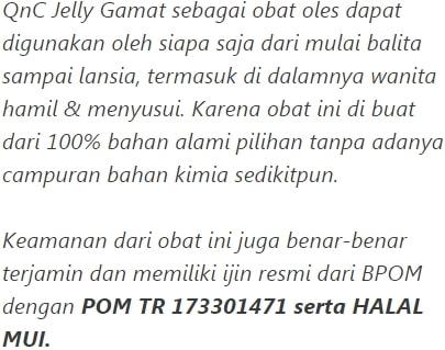 QnC Jelly Gamat aman bagi semua kalangan