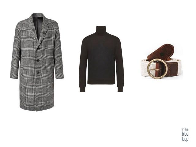Combinación abrigo de cuadros, jersey de cuello vuelto negro y cinturón fataga de blue hole