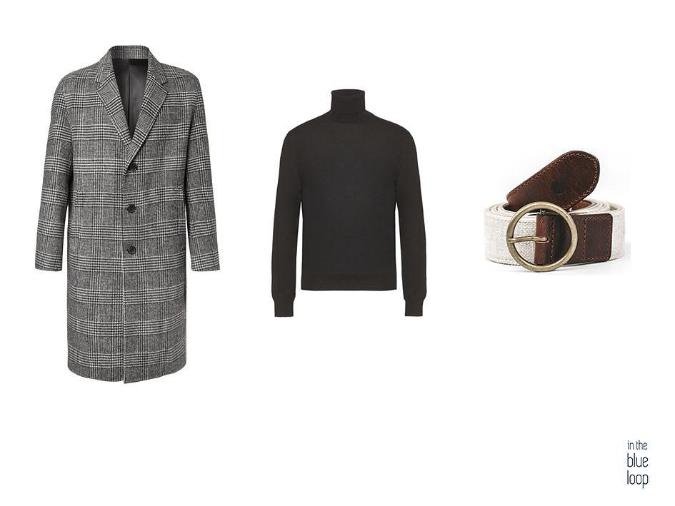 Look smart-casual con jersey de cuello vuelto negro, cinturón masculino Fatiga de blue hole y abrigo largo de cuadros