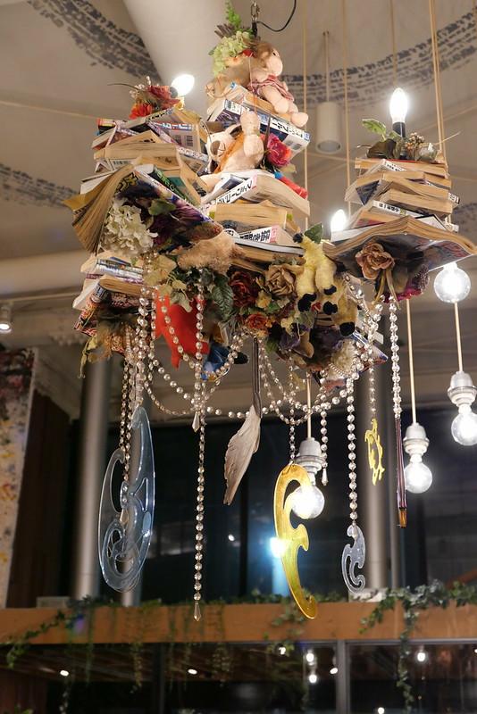 CAFE ZENON chandelier of book