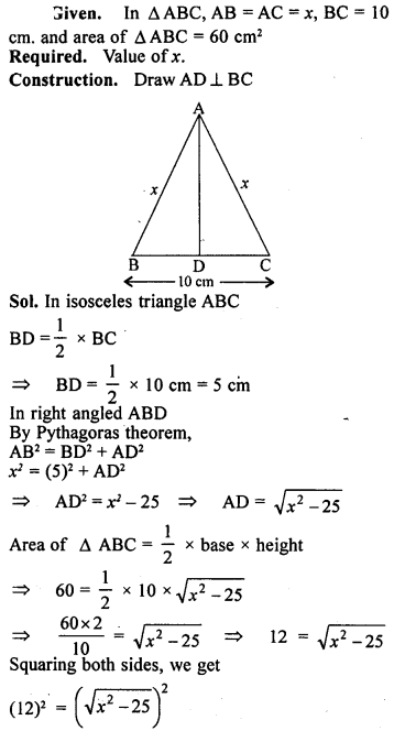 ML Aggarwal Class 9 Solutions for ICSE Maths Chapter 12 Pythagoras Theorem     17