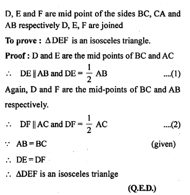 ML Aggarwal Class 9 Solutions for ICSE Maths Chapter 11 Mid Point Theorem    3a