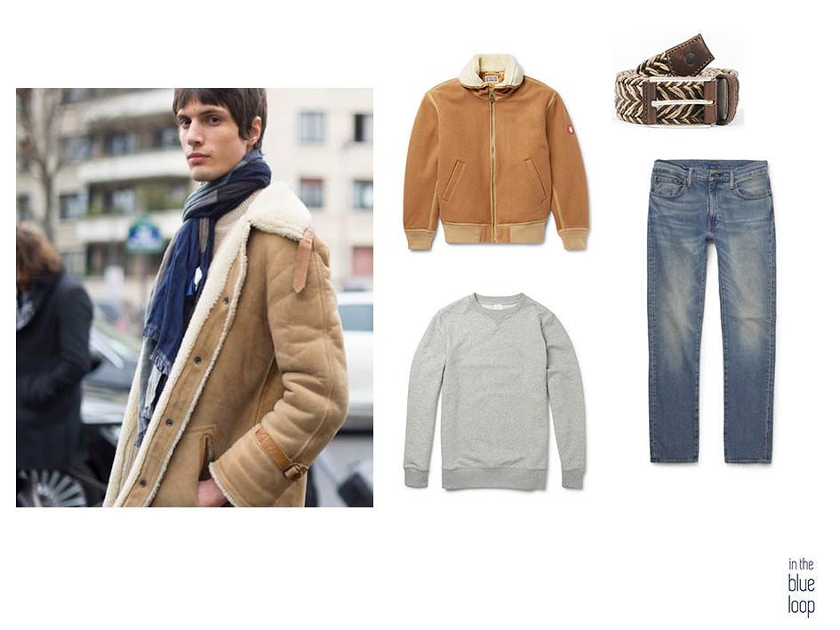 Look masculino casual con vaqueros, cinturón Sabina de blue hole, chaqueta piel de oveja borrego y sweater gris