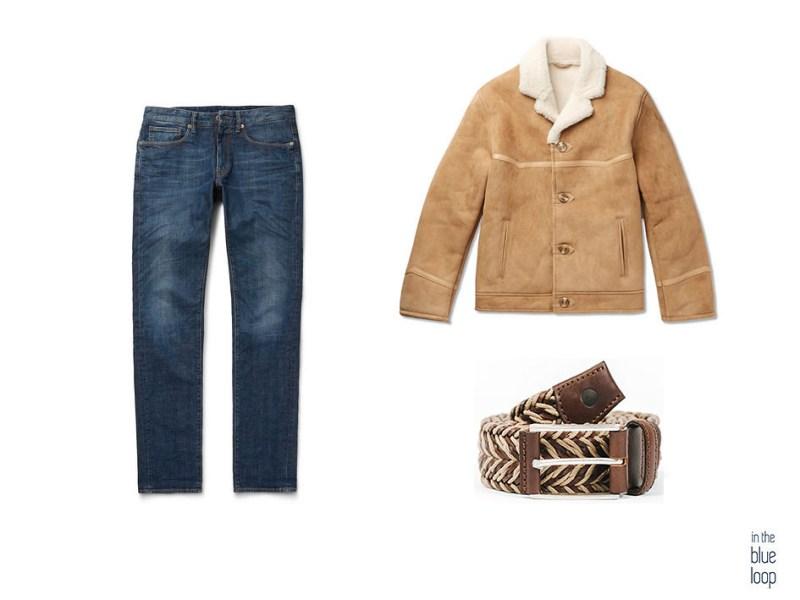 Look masculin décontracté avec un jean ou un jean, une veste de mouton et une ceinture à trou bleu