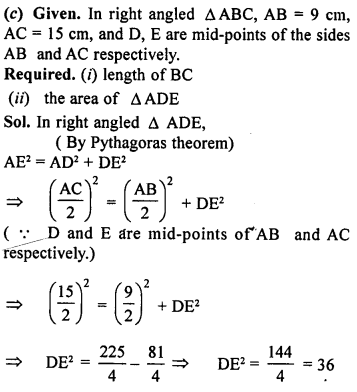ML Aggarwal Class 9 Solutions for ICSE Maths Chapter 12 Pythagoras Theorem     ch1c