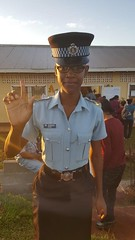 Police Office Naomi Ross-Singh Was the first to cast her vote at the Mabaruma Nursery School in Constituency Three in the Mabaruma Township.