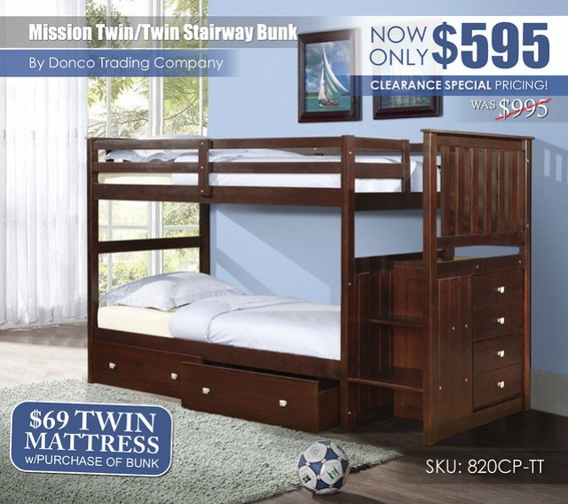 Special Clearance_820CP Mission TT Staircase Bunk Bed_Updated