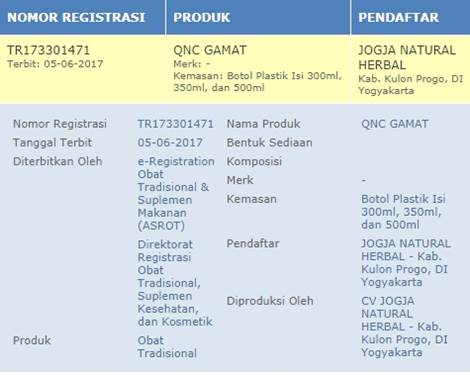 BPOM QnC Jelly Gamat
