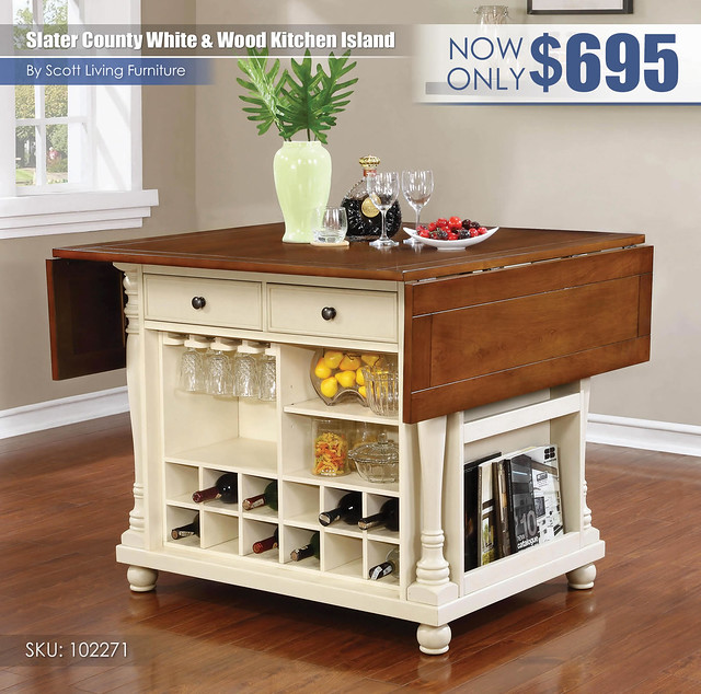 Slater County white and Wood Kitchen Island_Scott Living_102271