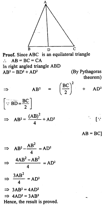 ML Aggarwal Class 9 Solutions for ICSE Maths Chapter 12 Pythagoras Theorem     20a