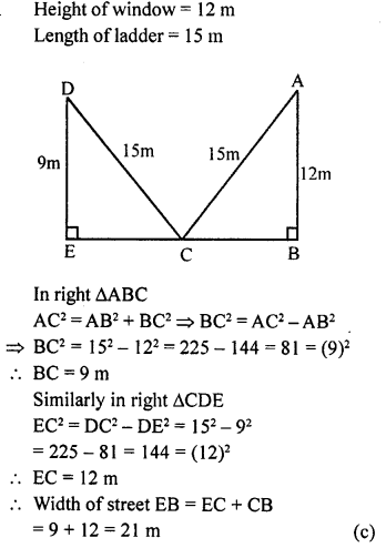 ML Aggarwal Class 9 Solutions for ICSE Maths Chapter 12 Pythagoras Theorem     mcq7