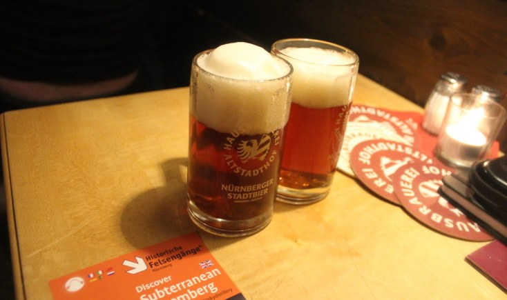 Red beer at Altstadthof brewery, Nuremberg, Germany