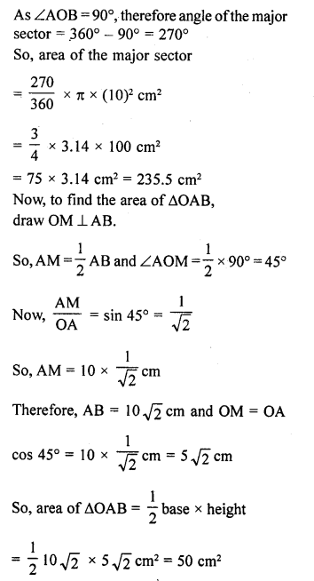 Class 10 RD Sharma Solutions Chapter 15 Areas related to Circles