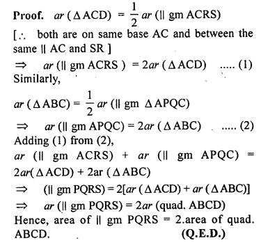 ML Aggarwal Class 9 Solutions for ICSE Maths Chapter 14 Theorems on Area    ct 1c