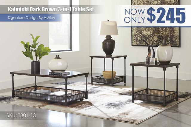Kalmiski Dark Brown 3 in 1 Table Set_T301-13