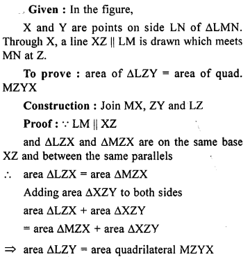 ML Aggarwal Class 9 Solutions for ICSE Maths Chapter 14 Theorems on Area    ct 3a