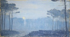 Auburtin, Jean Francis  - Landscape with pines at a moonlit night  - 1893