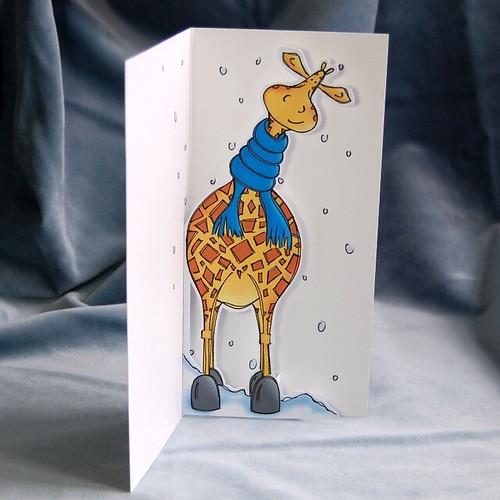 cosy giraffe - pop up card 03