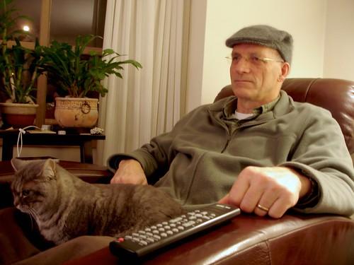 Dad with his Morgan hat & Laptop
