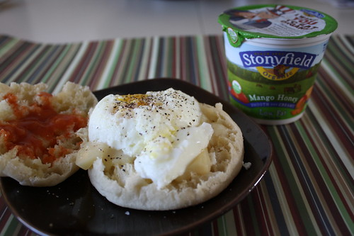 Egg sandwich and stonyfield