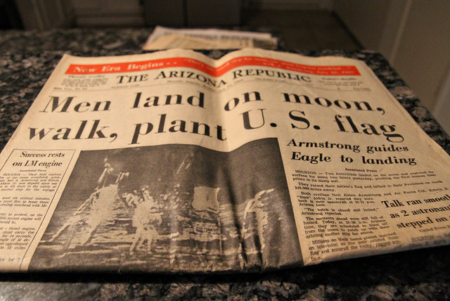 The first man walks on the moon - paper dated 07/21/69.