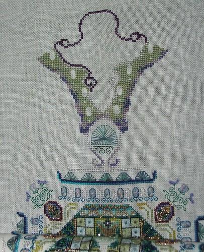 Blog fodder... progress picture for Chatelaine's Peacock mandala