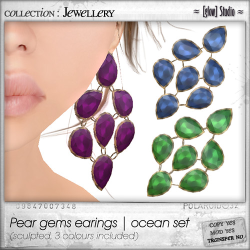 [ glow ] studio - Pear gems earings ocean set