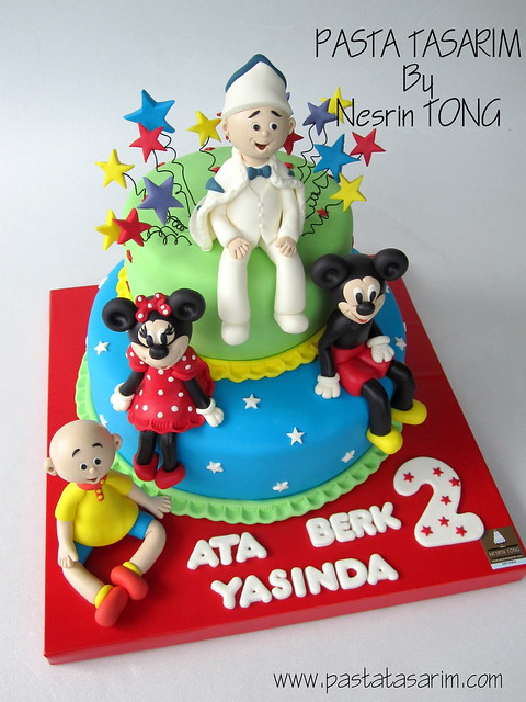 ATABERK 2ND BIRTHDAY CAKE - ATABERK AND MINIE AND MICKEY AND CAILLOU