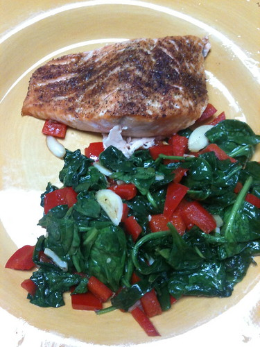 Broiled Salmon with wilted spinach