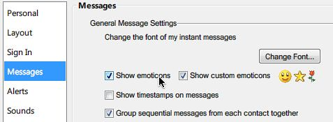 Messenger options: Show emoticons