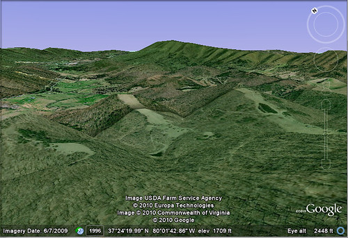 Google Earth - View of Tinker Cliffs from McAfee Knob