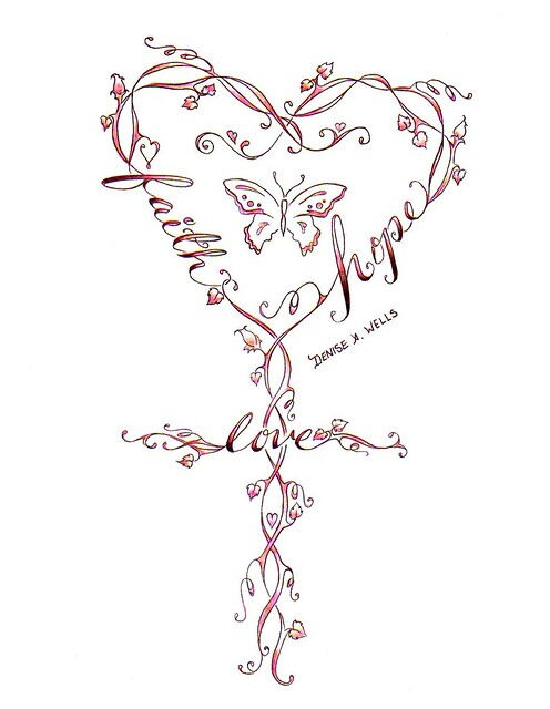 Faith-Love-Hope Cross Tattoo Design by Denise A. Wells