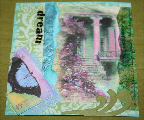 "Dream in green and aqua 4"" x 4"" Collage Card"