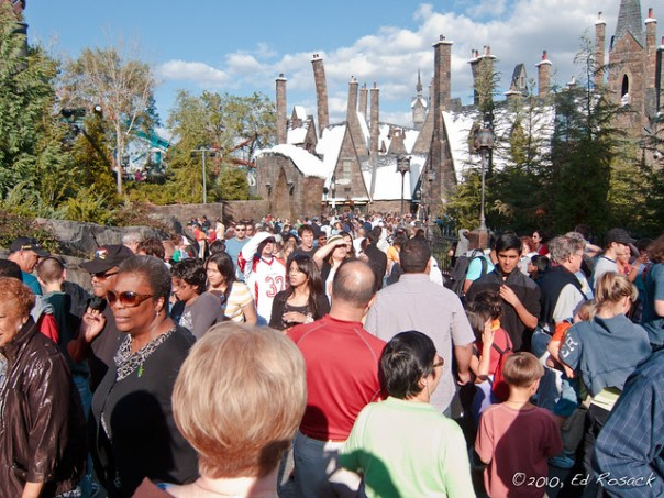 Muggles crowd in Hogsmeade Village