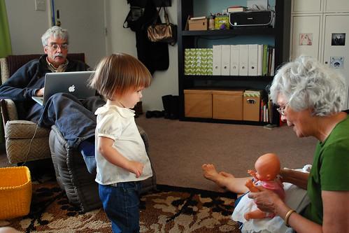 Dollies with grandma.