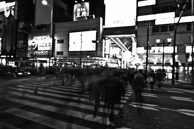 Japan Blurry Street Photography black white fast pace