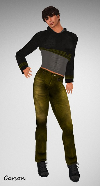 22769 Menstuff Hunt Black-Gold Jumper, Gold Denim Jeans and Grey Tank