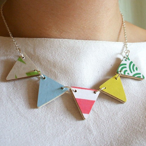 Green Pink Yellow Bunting Necklace