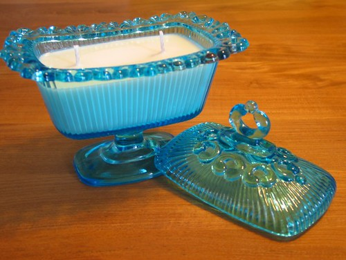 Etsy lupinedesigned Stunning Unscented Soy Candle In Blue Glass Server $20