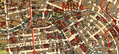 Original map from 1923 of the same area we roughly tried to recreate in the virtual 1920s Berlin