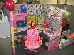 Desk wrapped up just after Christmas