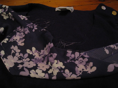 purple sweater refashion, binding fabric